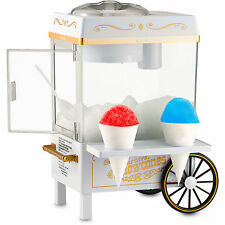 Mini Snow Cone Maker Shaved Ice Machine w/ Cart & Stand, Home Snowcone Crusher