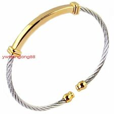 Unisex Men Women's Stainless Steel Cable Wire Cuff Bangle Charms Bracelet Hot