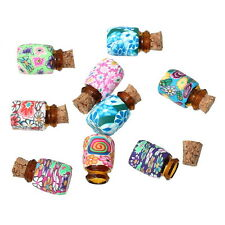 10PCs Mini Round Glass Bottles Containers Vials Jars With Corks