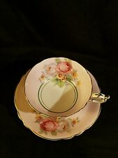 VINTAGE PARAGON TEA CUP AND SAUCER c1939+ WHITE AND PINK ROSES