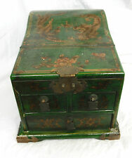 Vintage Lacquered Wooden Chinese Wedding Chest / Jewellery Box