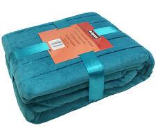 Luxury Shiny Stripe Warm Soft Coral Fleece Throw Sofa Double Bed Blanket