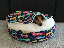 NEW Dachshund Small Dog Bed Snuggle Bed for Burrowing Dogs Happy Doxie Fabric