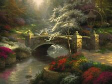 Thomas Kinkade BRIDGE OF HOPE Limited Edition 25.5x34 Canvas S/P SIGNED