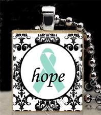 Teal Ribbon Hope Damask Pattern Scrabble Tile Pendant Ovarian Cancer Support S1