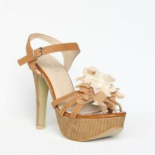 Plateau Riemchen Sandaletten 38 Braun Pumps High Heels Stilettos Shoes XW9041.