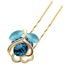 Gold Dark & Light Tulip Flower Bun Hair Pins Accessories Head Decoration HA228