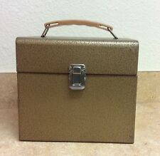 "VTG Bronze Color Metal Tan Plastic Handle File Storage Lock Box  8"" x 9"" x 5.5"""
