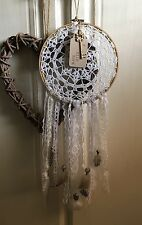 Handmade Vintage Country Shabby Chic Crochet, Lace, Doily, Feather Dreamcatcher