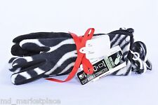 NWT Igloos Womens 2pc Zebra Black Hat & Touchscreen Texting Fleece Gloves S/M
