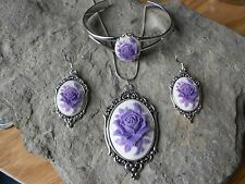 LAVENDER - PURPLE ROSE CAMEO NECKLACE. BRACELET, AND EARRINGS SET - QUALITY