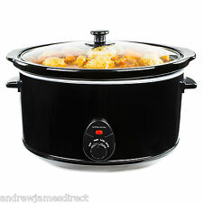 Andrew James 8 Ltr Premium Black Slow Cooker Pot + Removable Ceramic Inner Bowl