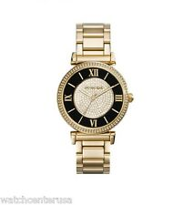 NEW MICHAEL KORS MK3338 CAITLIN BLACK & PAVE CRYSTAL DIAL GOLD WOMEN'S WATCH