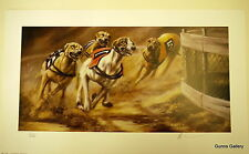 Mick Cawston signed Limited Edition Print Rounding The Bend Greyhound racing