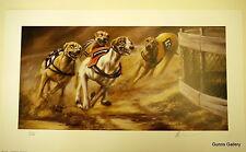Mick cawston signée édition limitée imprimé arrondi le virage greyhound racing
