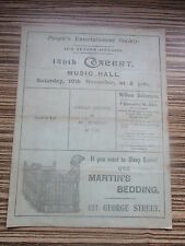 1900 1901 EDINBURGH MUSIC HALL PEOPLES ENTERTAINMENT SOCIETY PROGRAMME