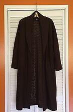 XL Chocolate Brown Crocheted Long Sweater Coat Cardi Plus Duster 1X