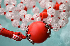 Knotted Mala 8 mm Crystal Quartz, Red Coral & Red Jasper Prayer Bead Necklace 10