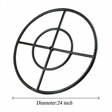 """24"""" Round Fire Pit Burner Ring, Double Ring, Black Steel"""