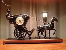United Sessions Hansom Cab Animated Motion Lamp Clock Antique Horse Carriage