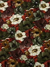 fabric 2 yards lightweight corduroy floral green brown white rust sewing