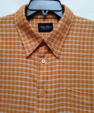 Men's Tommy Bahama Indigo Palms Denim Orange Plaid LS Shirt Size XL EUC