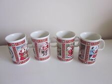 Dunoon White Christmas Mugs set of 4 made in Scotland