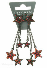 PILGRIM Earrings STAR Charm Black Red Swarovski Enamel BNWT Last Pairs!