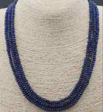 Stunning 3-row 2x4mm natural deep blue sapphire abacus Beads necklace 17-19 '