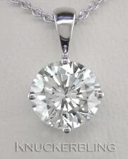 1.00ct F SI Exc Round Brilliant Cut Diamond & 18ct White Gold Pendant with Chain