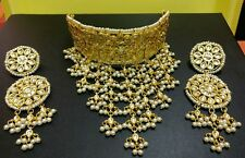 White Pearl Kundan Gold Tone Bollywood Choker Necklace Set Bridal Latest Jewelry