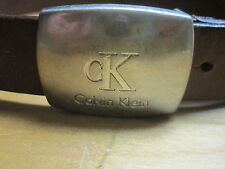 VTG cK Calvin Klein Brown Leather cK Buckle Belt Sz 30