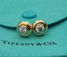 Authentic Tiffany & Co. 18K Yellow Gold Platinum Earring Studds 0.8 Carat