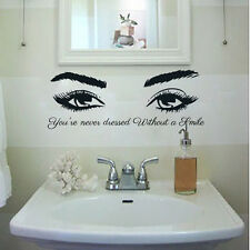 Quote Vinyl Wall Decals Beautiful Eyes Art Eye Lashes Wink Stickers Decor MN478