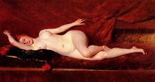 "Oil painting William Merritt Chase - A Study in Curves nude girl on bed 24""X48"""