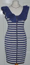 Love label blue & stone striped frill next zipped stretch bodycon dress size 10