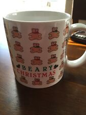 "Russ Christmas Holiday Coffee Tea Mug ""Beary Christmas"" Bears Red & Green Bows"