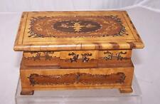 """Antique Solid Wood Musical Jewelry Box Ornate Marquetry 6.5""""x4""""x3.25"""" Handmade"""