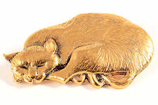 Vintage BMP British Museum Penannular Signed Gold Tone Cat Pin Brooch England