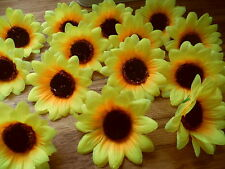 15  SUNFLOWER HEADS 7cm /GARLAND/WEDDING CRAFTS/CARDS/DECORATION/uk/COSTUME.