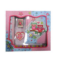 Girls Stationery Set - Diary, Ruler, Eraser, Pencils & Sharpener - Sparkle Owls