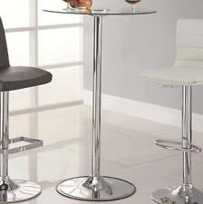 """42"""" Transitioning LED Bar Table with Chrome Base and Glass Top by Coaster 122400"""
