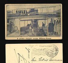 CARTOLINA AVIAZIONE 1919 PRIMO VOLO AEREO MILANO ROMA FRANCHIGIA MILIT NEW YORK
