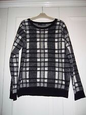 Womens Primark check fluffy jumper sweater top grunge size 8/10 UK 36/38 Eur