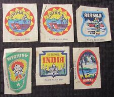 Vintage POST'S RAISIN BRAN Cloth Patch LOT of 6 VG/FN Hawaii Alaska China India
