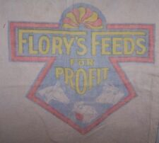 1940'S ORG COTTON CLOTH 100# FLORY'S FEED SACK BAG-HORSE-COW-CHICKEN-BANGOR PAe
