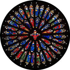 STAINED GLASS WINDOW ART - STATIC CLING  DECORATION - WESTMINSTER ROSE WINDOW