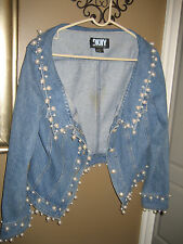 VINTAGE DKNY pearl encrusted blue denim jacket size 12