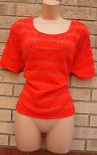 G21 RED CHERRY POM POM STRIPE QUILTED BAGGY JUMPER TUNIC TOP BLOUSE 10 S