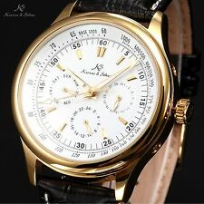 KS Gold Case White Dial Date Men Automatic Mechanical Army Wrist Watch